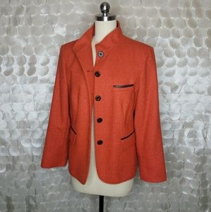 Kirsten Orange Fall Blazer Wool Blend Sz 12 German